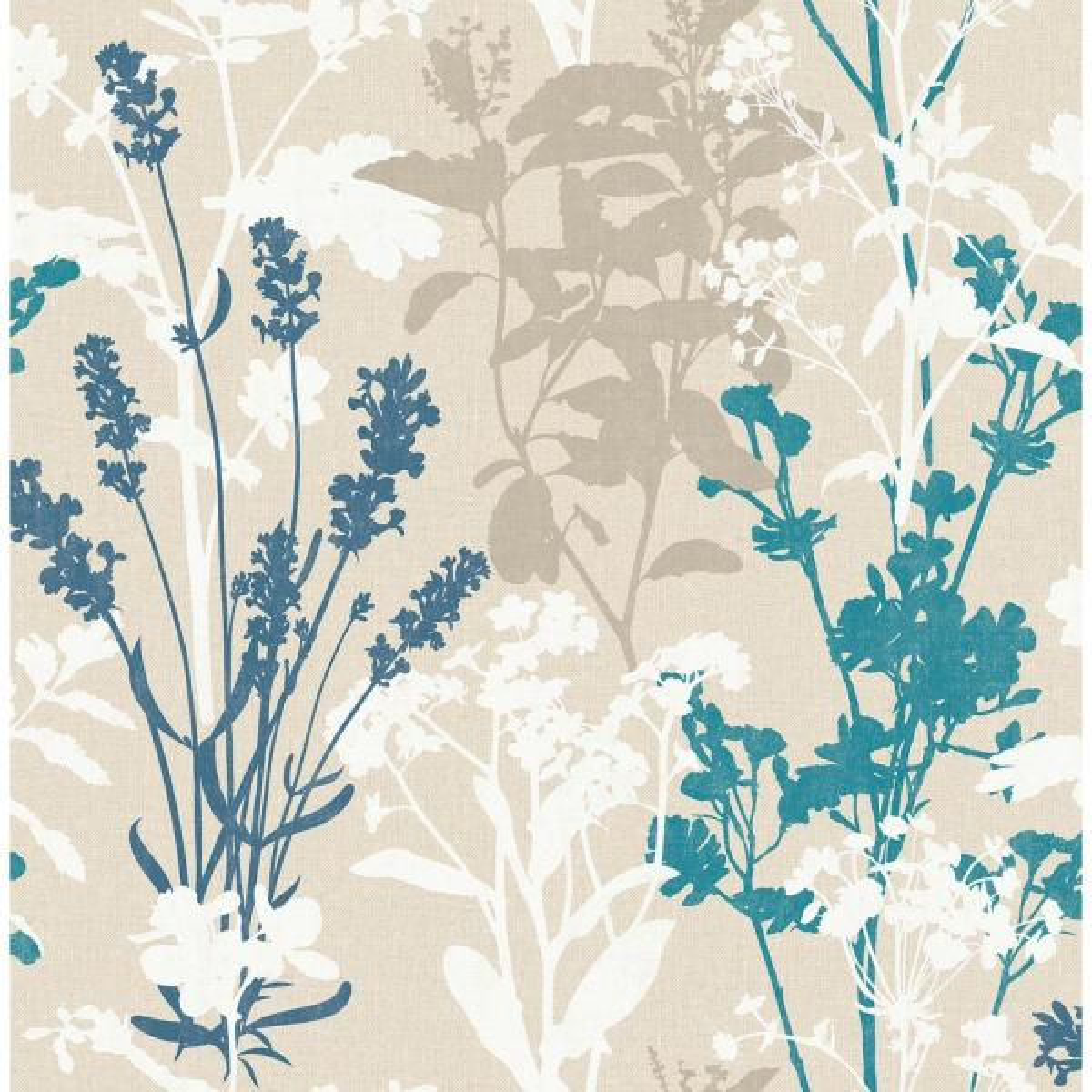Advantage Pippin Blue Wild Flowers Wallpaper Sample 2814-24572SAM