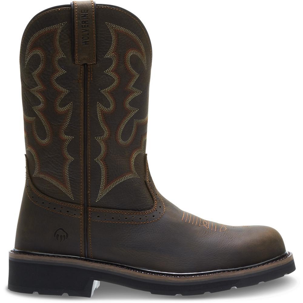"Men's Rancher Round Toe 8.5EW Dark Brown Full-Grain Leather Steel Toe 10"" Wellington"