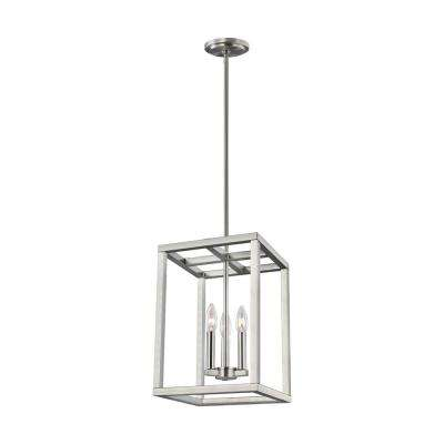 Moffet Street 3-Light Brushed Nickel Hall-Foyer Pendant with Dimmable Candelabra LED Bulb
