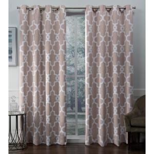 Black Pearl 2 Piece Exclusive Home Curtains Ironwork Woven Blackout Grommet Top Panel Pair 52x108