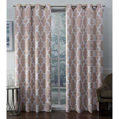 Ironwork 52 in. W x 96 in. L Woven Blackout Grommet Top Curtain Panel in Blush (2 Panels)
