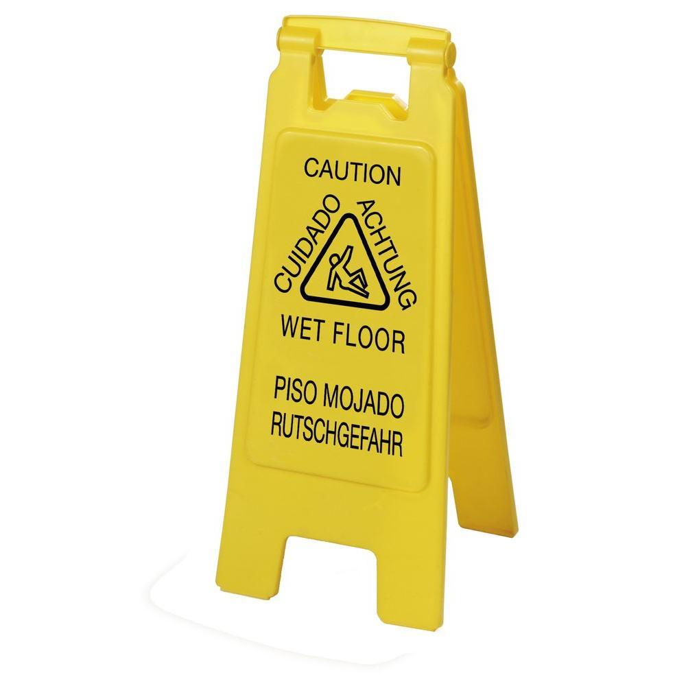 English, Spanish, German Yellow Wet Floor Sign (6-Pack)