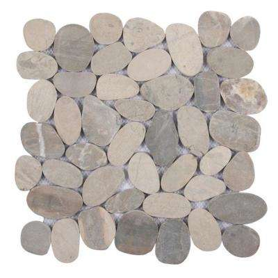 Sliced Pebble Light Grey 11.5 in. x 11.5 in. x 9.5 mm Indonesian Pebble Mesh-Mounted Mosaic Tile (10.098 sq. ft. / case)