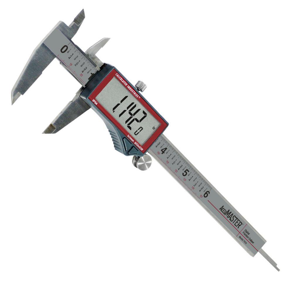 AccuMASTER Digital Vernier Caliper Stainless Steel 6 in. Tool Displays Fractions to 1/64 in Decimal Inches, Millimeters