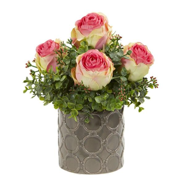 Nearly Natural Indoor 11 in. Roses and Eucalyptus Artificial Arrangement in Designer Vase