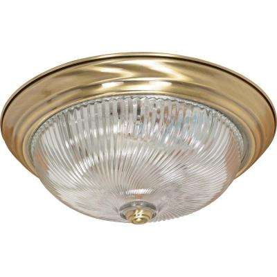Elektra 3-Light Antique Brass Flushmount with Clear Swirl Glass