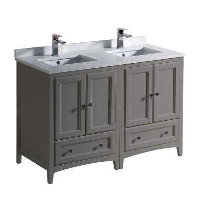 Magnificent Oxford 48 In Traditional Double Bath Vanity In Gray With Quartz Stone Vanity Top In White With White Basins Best Image Libraries Sapebelowcountryjoecom