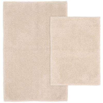 Queen Cotton Natural 21 in. x 34 in. Washable Bathroom 2-Piece Rug Set