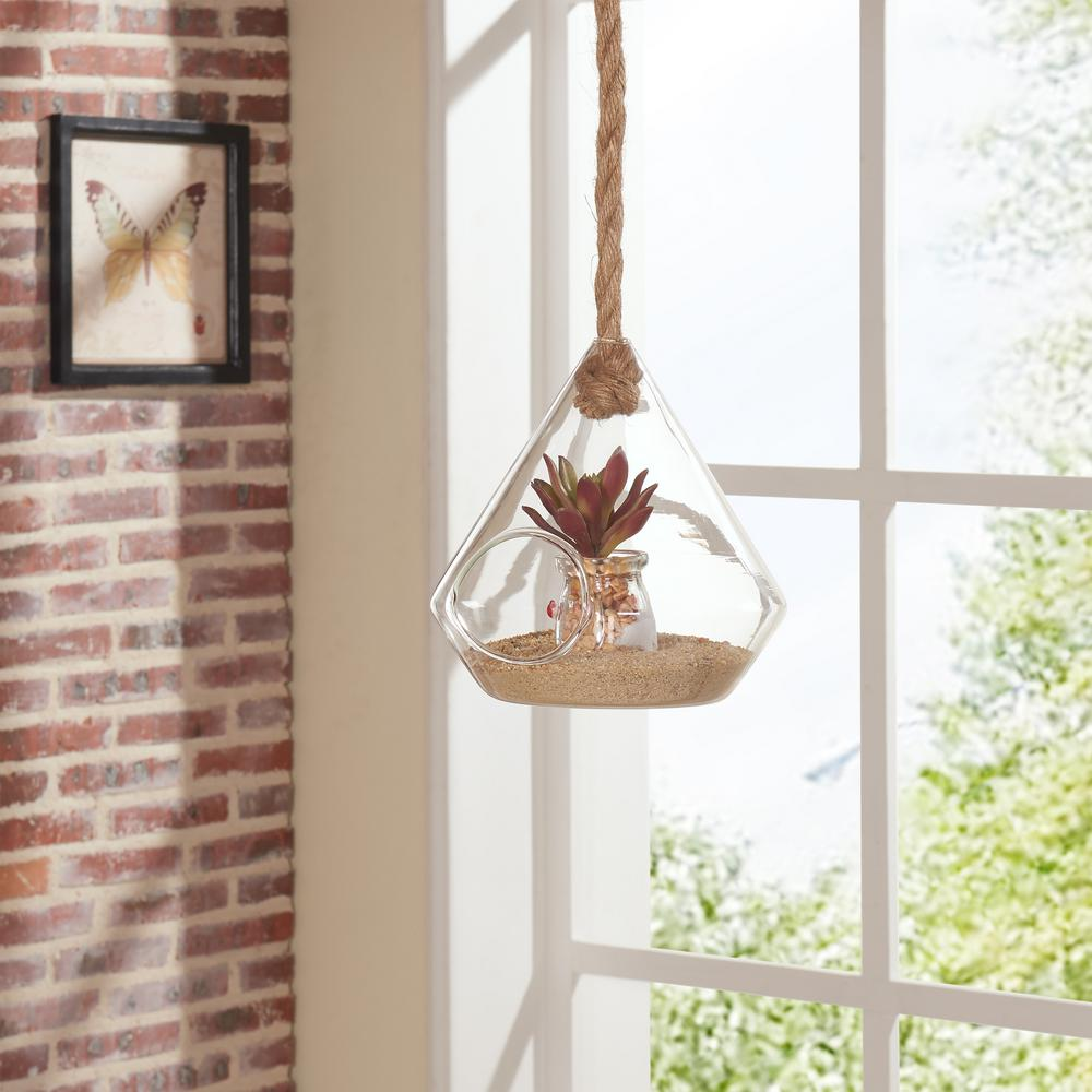 8 in. Diamond Shape Clear Glass Hanging Planter with Rope Decorative