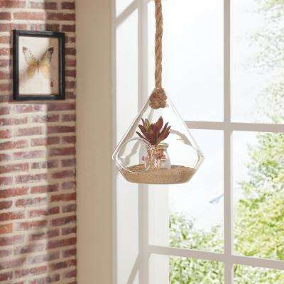 8 in. Diamond Shape Clear Glass Hanging Planter with Rope Decorative Vase
