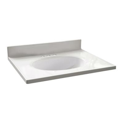 25 in. W x 19 in. D Cultured Marble Vanity Top in Solid White with Solid White Basin with 4 in. Faucet Centerset
