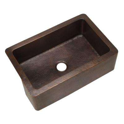 Hammerwerks Series Apron Front Farmhouse Copper 32 in. Single Bowl Kitchen Sink in Antique Copper