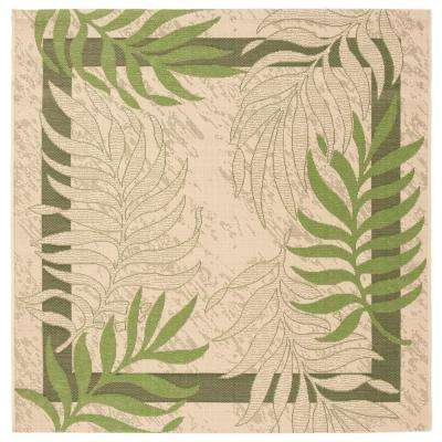 Courtyard Cream/Green 7 ft. x 7 ft. Indoor/Outdoor Square Area Rug