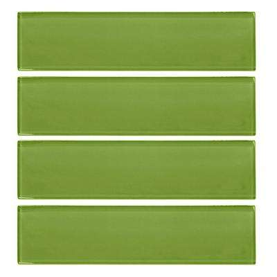Lime 3 in. x 12 in. Glass Wall Tile
