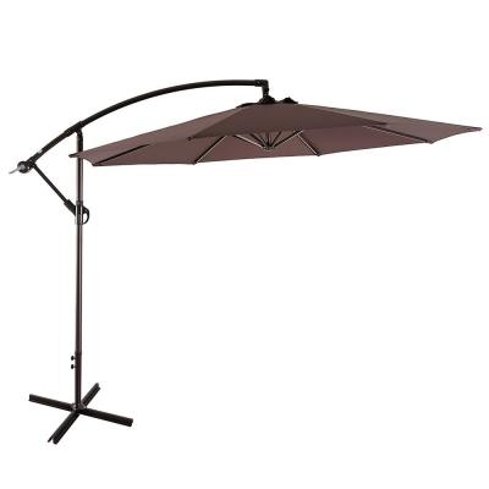 Bayshore 10 ft. Cantilever Hanging Patio Umbrella in Coffee