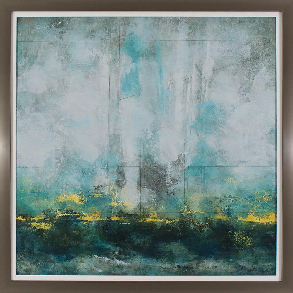 Decor Therapy 39 in. x 39 in. Cerulean Landscape Printed Framed Wall ...