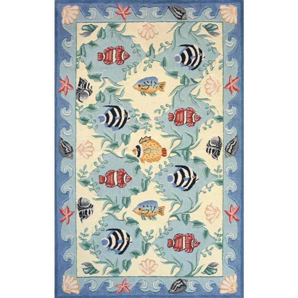 Momeni Coastal Fish Blue 8 ft. x 11 ft. Area Rug
