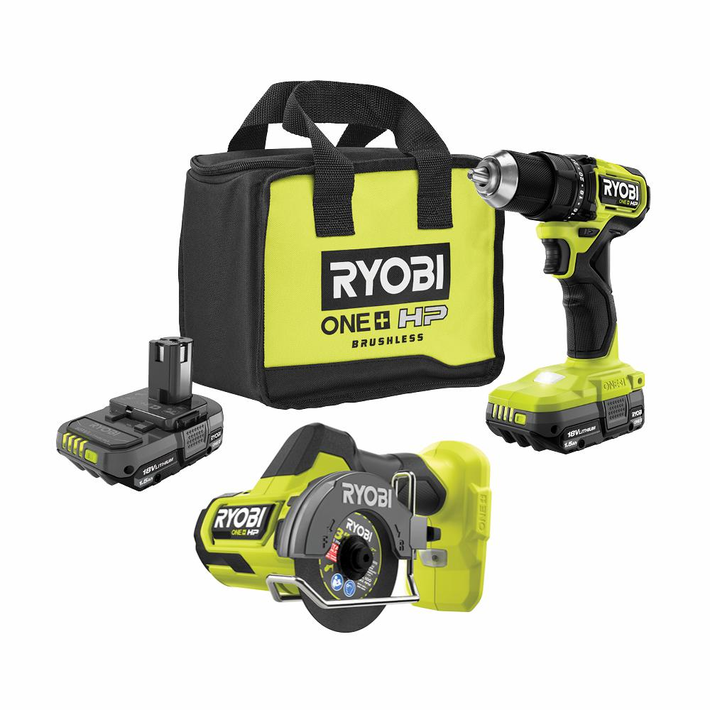 ONE+ HP 18V Brushless Cordless Compact 1/2in Drill/Driver, Cut-Off Tool, (2) 1.5 Ah Batteries, Charger, and Bag