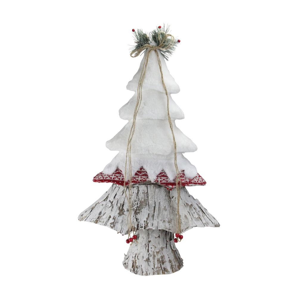 22 in. Retro Christmas White Red and Brown Christmas Tree Decoration
