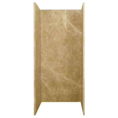 36 in. x 36 in. x 80 in. 3-Piece Glue-Up Shower Wall in Light Emperador