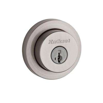 158 Round Contemporary Satin Nickel Single Cylinder Deadbolt Featuring SmartKey Security