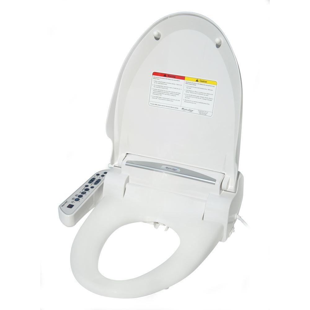 Magic Clean Electric Bidet Seat Round Toilet with Dryer in White