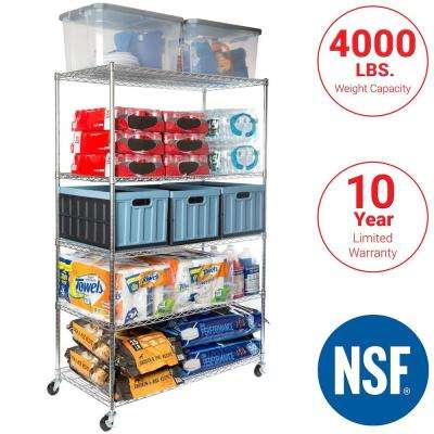 Rolling 5-Tier Steel Commercial-Grade Shelving Unit in Chrome (48 in. W x 72 in. H x 24 in. D)