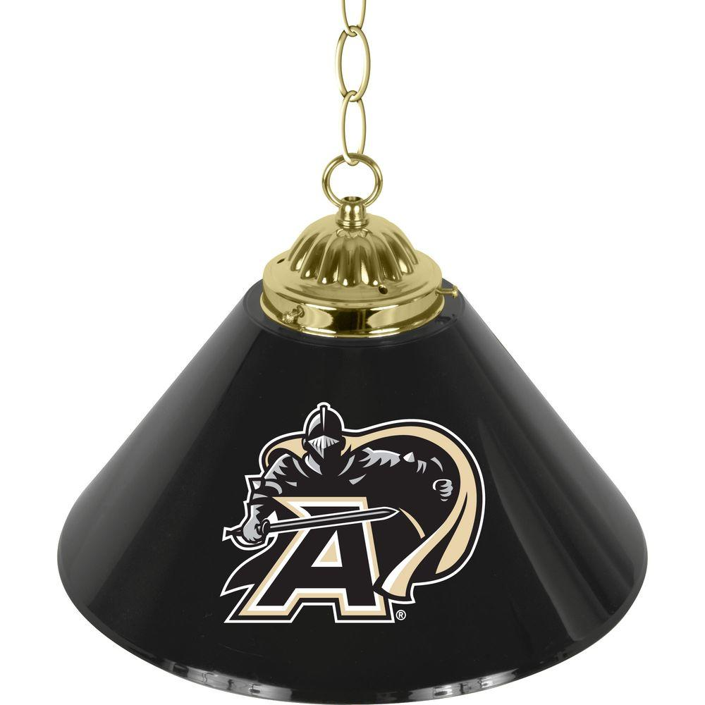 Army Black Knights 14 in. Single Shade Black Hanging Lamp