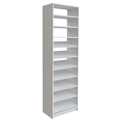 14 in. D x 25.375 in. W x 84 in. H White Shoe Storage Tower Wood Closet System Kit