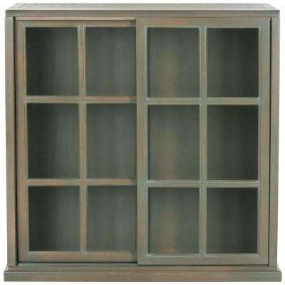 Greg Ash Grey Glass Door Bookcase