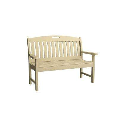 Nautical 48 in. Sand Plastic Outdoor Patio Bench