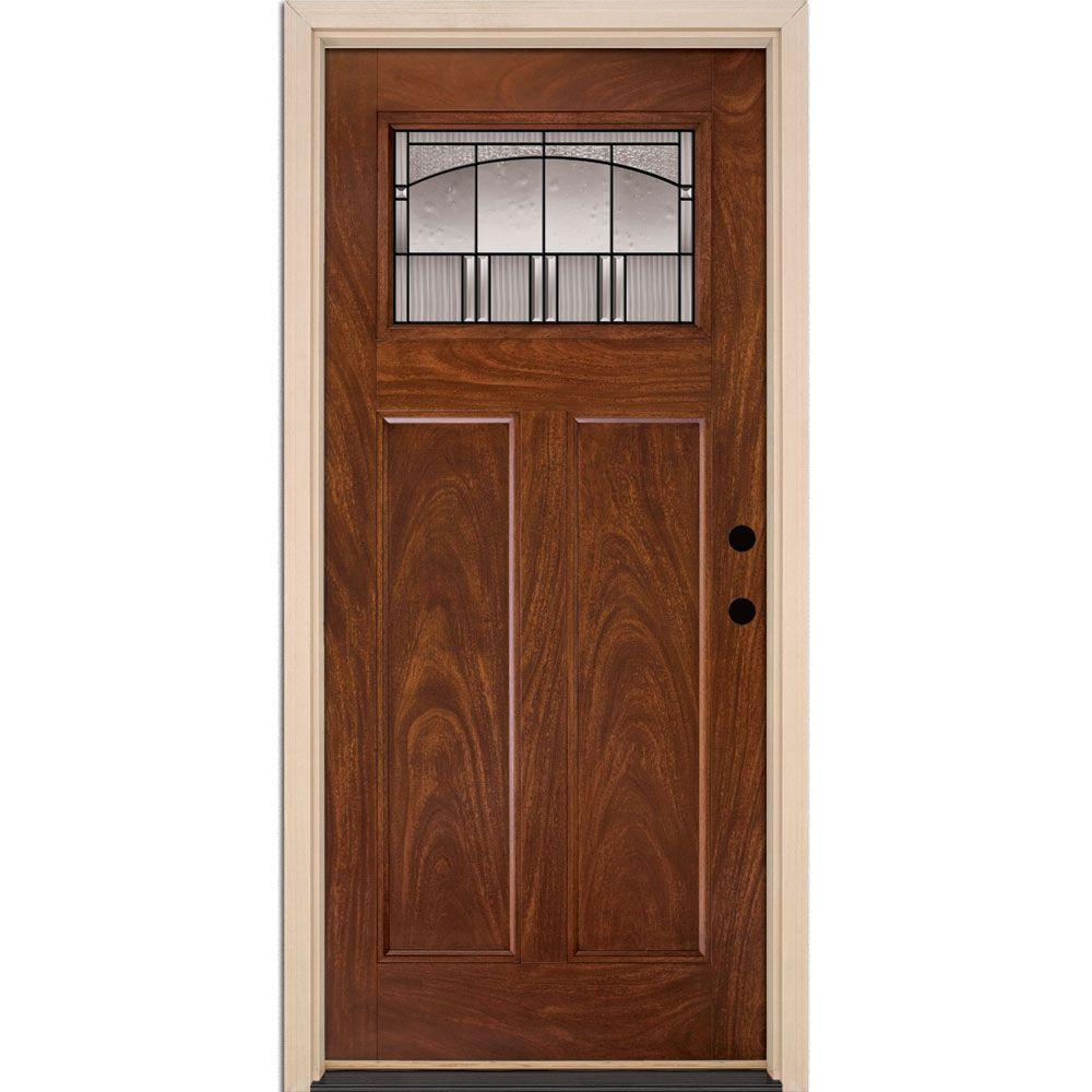 35.5 in. x 81.625 in. Horizon Patina Craftsman Stained Chocolate Mahogany