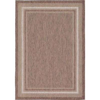 Outdoor Border Brown 7' x 10' Rug