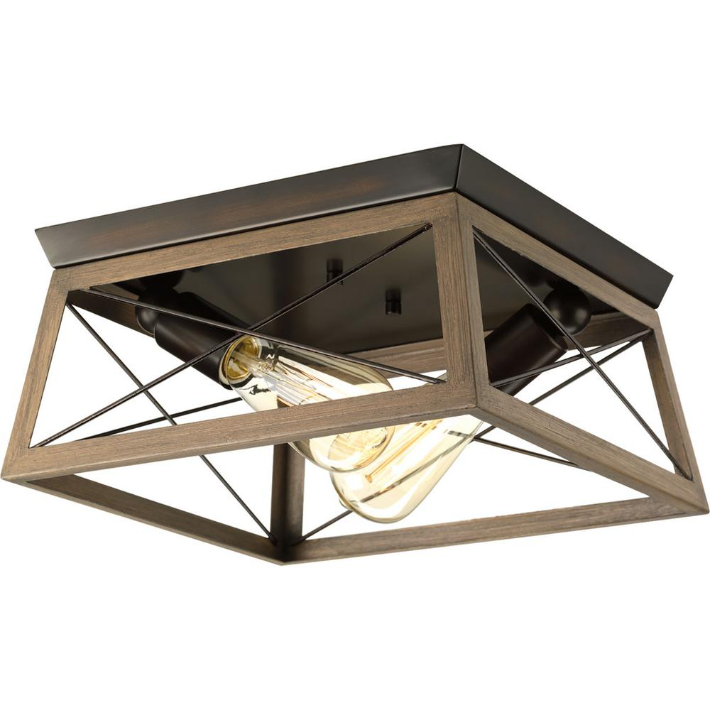 Progress Lighting Briarwood 12 in. 2-Light Antique Bronze Flush Mount with Faux-Painted Wood Accents