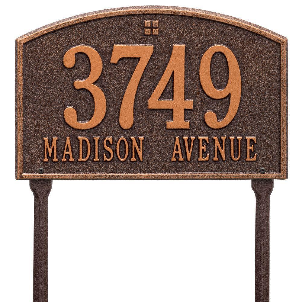 Cape Charles Rectangular Antique Copper Standard Lawn 2-Line Address Plaque