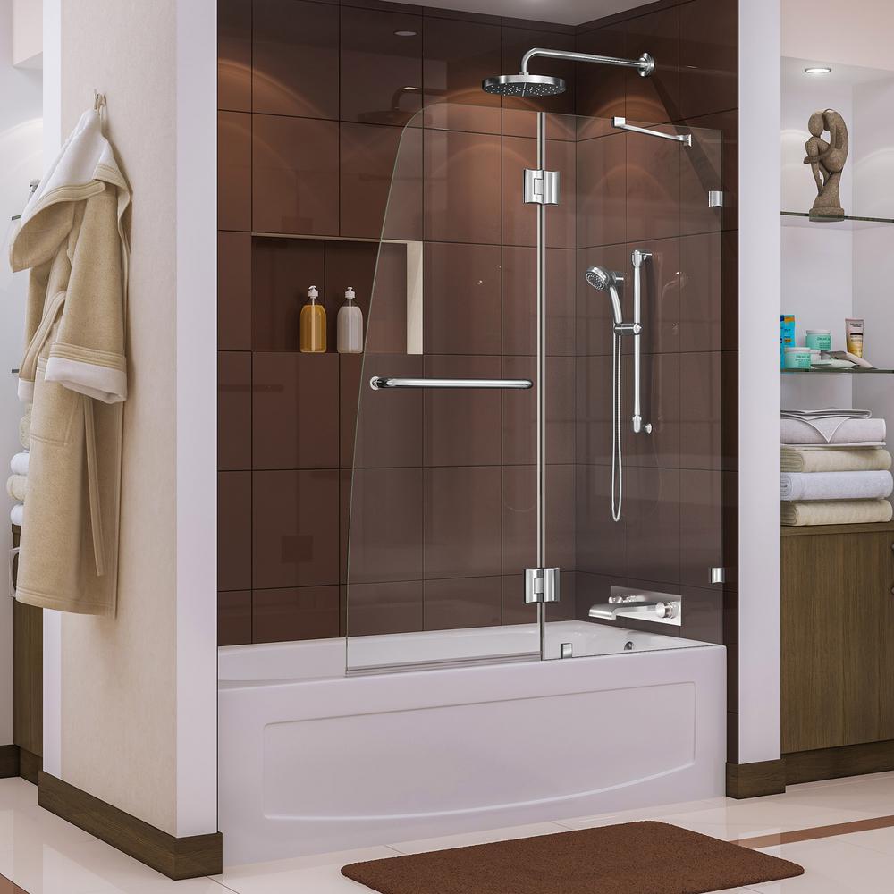 DreamLine Aqua Lux 48 in. x 58 in. Frameless Pivot Tub/Shower Door ...