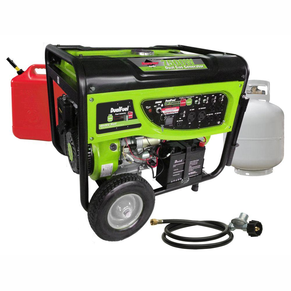 Smarter Tools 6,500/7,500-Watt Dual Fuel Generator with Electric Start and Battery
