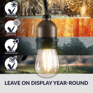 Newhouse Lighting-25 ft. Outdoor String Lights Commercial Grade LED Hanging Lights - 9 Light Bulbs Included