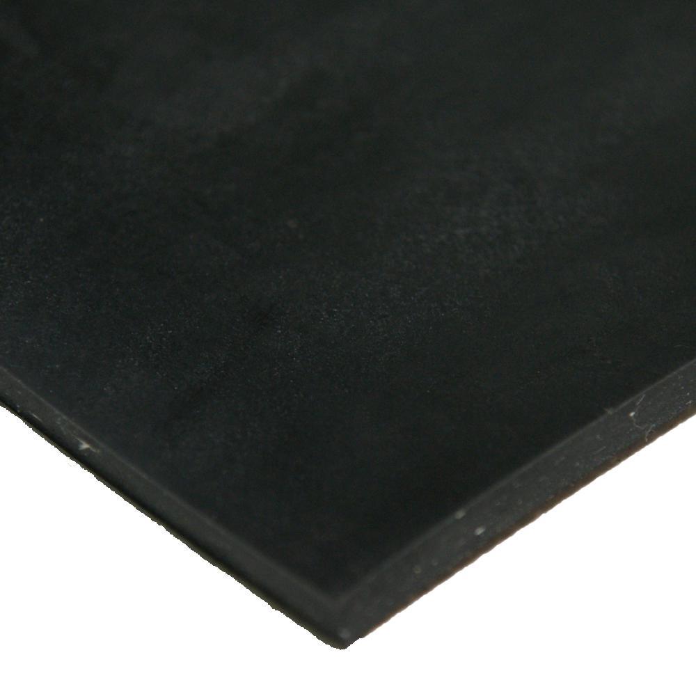 Cloth Inserted SBR 3/16 in. x 36 in. x 12 in. 70A Rubber Sheet - Black