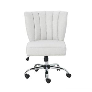 Booker Contemporary Scalloped Back Beige Fabric Home Office Chair with Stud Accents