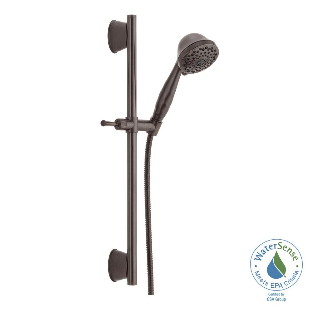 Delta 7 Spray Handheld Showerhead With Slide Bar And Pause In Venetian  Bronze