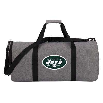 Jets Wingman 10 in. Heathered Gray Duffle Bag
