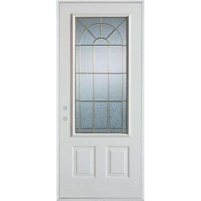 37.375 in. x 82.375 in. Geometric Zinc 3/4 Lite 2-Panel Painted White Right-Hand Inswing Steel Prehung Front Door