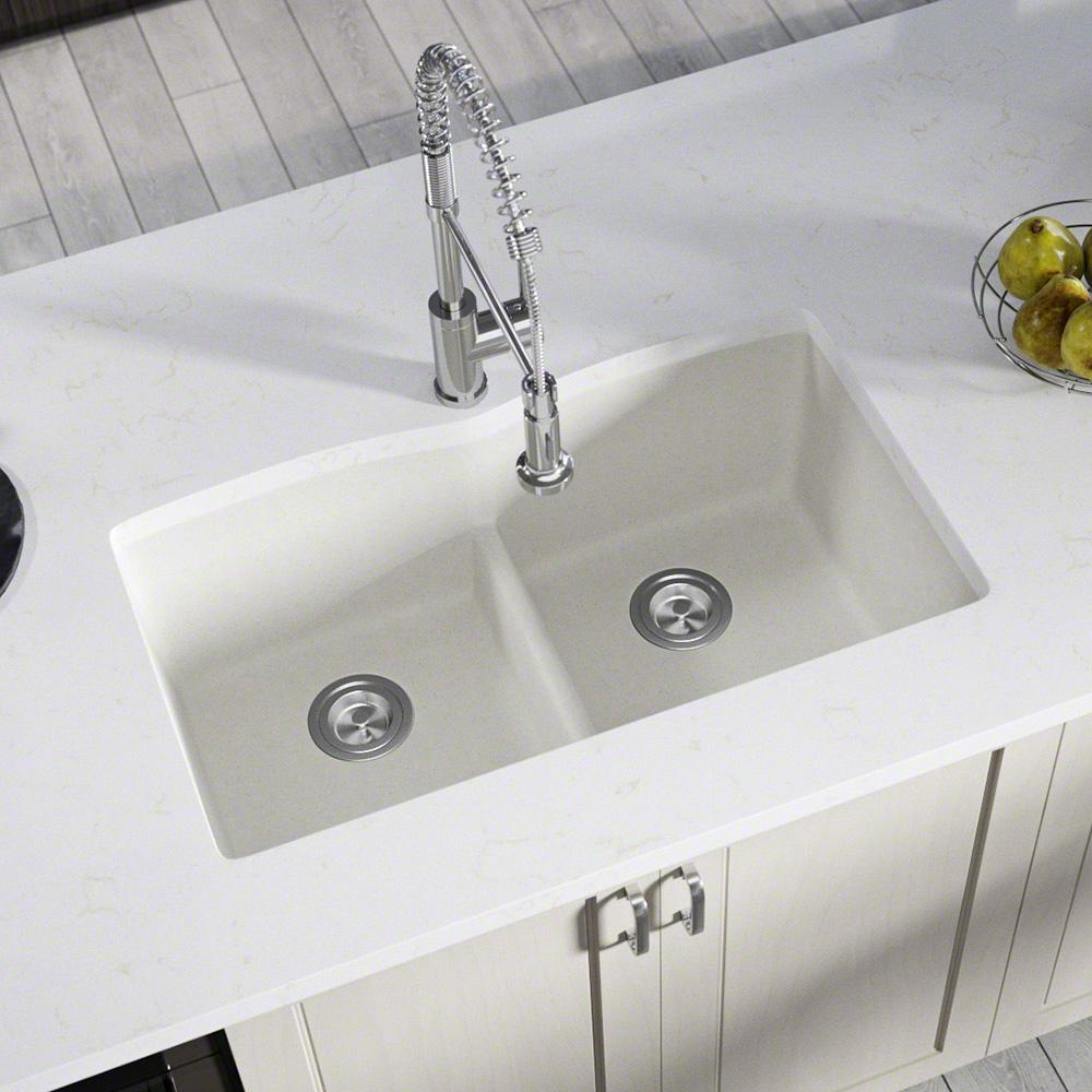 MR Direct All-in-One Undermount Kitchen Sink Composite Granite 33 in.  Low-Divide Equal Double Basin in White