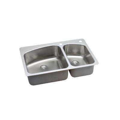 Perfect Drain Drop-In/Undermount Stainless Steel 33 in. 2-Hole Double Bowl Kitchen Sink Kit