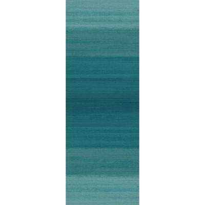 Washable Ombre Blue 3 ft. x 7 ft. Stain Resistant Runner Rug