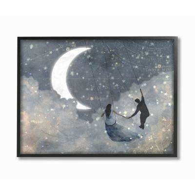 "16 in. x 20 in. ""Grey and Blue Celestial Love Sky Swinging Crescent Moon"" by Artist Victoria Borges Framed Wall Art"
