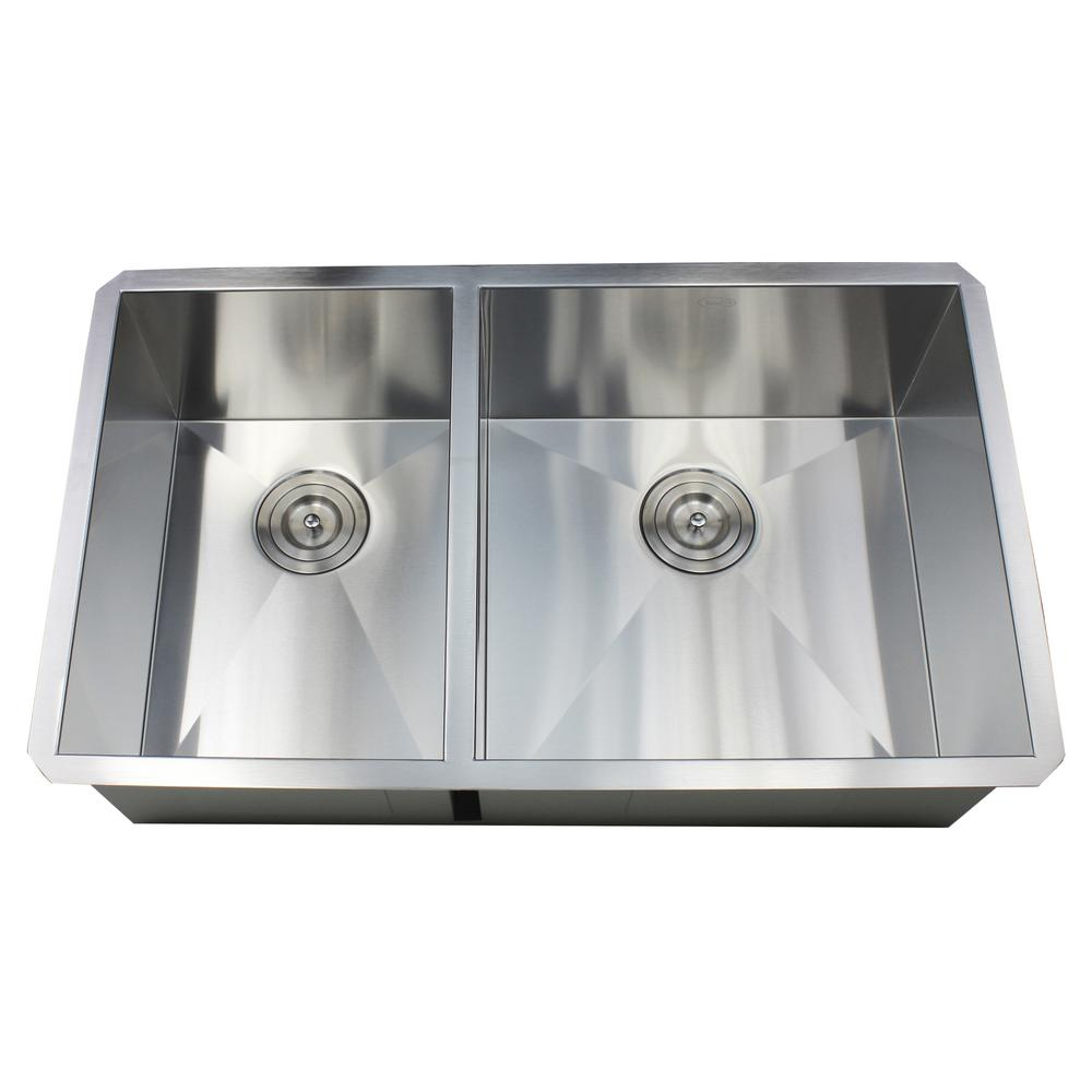 Kingsman Hardware Undermount 32 in. x 19 in. x 10 in. Deep Stainless ...