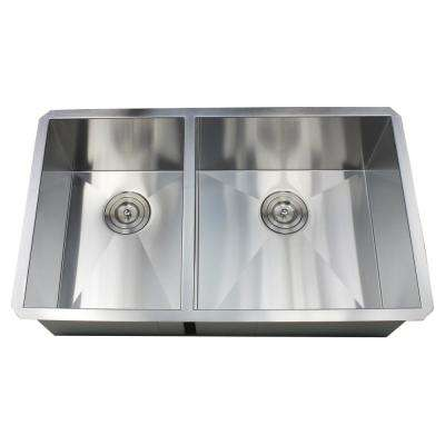 Undermount 32 in. x 19 in. x 10 in. Deep Stainless Steel 16-Gauge Double Bowl 40/60 Zero Radius Kitchen Sink