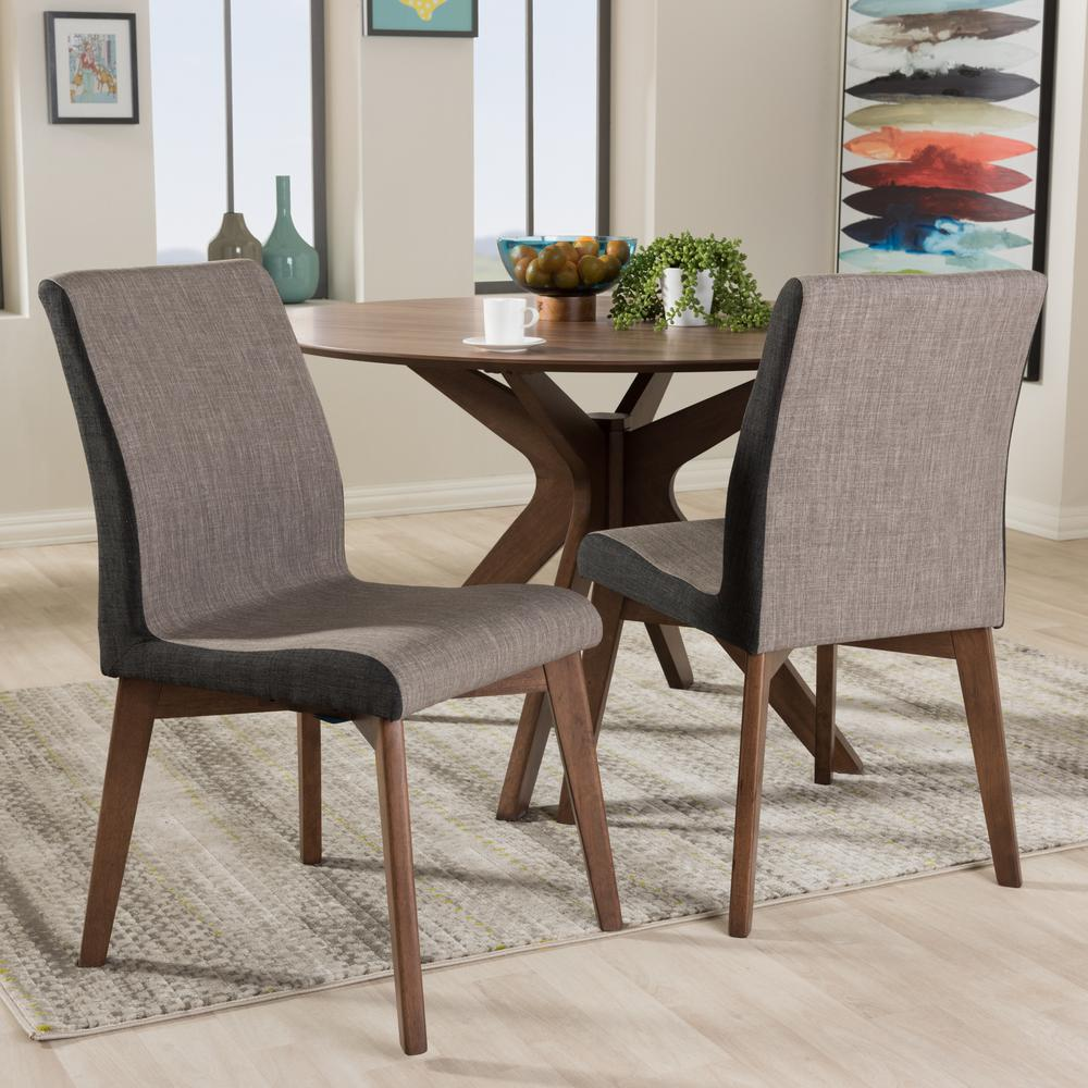 Baxton Studio Kimberly Gray Fabric Upholstered Dining Chairs Set Of